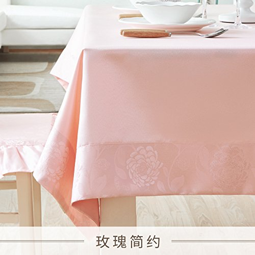WFLJL Nappe Style européen IMPERMÉABLE couleur solide Table à manger Rectangle petit frais Table basse Rose 140*220cm