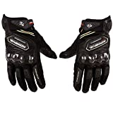 Automotive Best Deals - Autofy Komine Pre Curved Armour Anti Slip Full Finger Leather Riding Driving Gloves (Black, Medium)