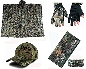 Ghillie Suit Camo Suit 3D Leafy Ghillie Poncho with Camo Gloves,Hat and 12 in 1 Headwear Sniper Suit for Jungle Hunting Shooting Airsoft Wildlife Photography or Halloween from XUE