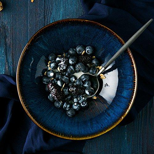 Ren Chang Jia Shi Pin Firm Keramische Nudelschüssel ramen Schüssel Suppenschüsselnudelschüssel-Fruchtsalatschüssel (Color : Blue, Size : 20*7cm)