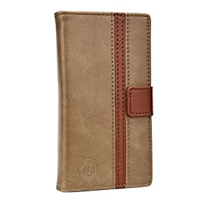 J Pluto Series Cover Leather Pouch Flip Case For Lava A68  Light Brown Dark Brown