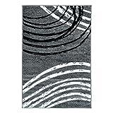 % Sale Teppich Modern Moda Wohnzimmer Flachflor Bogen Muster Grau Schwarz Größe 80/150 cm