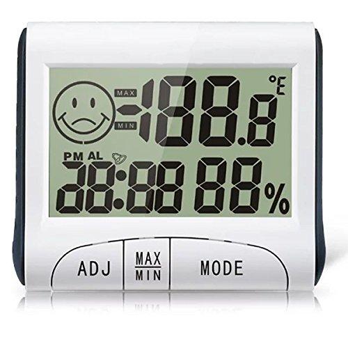 Goliton LCD Display Thermometer Feuchtigkeit Temperatur Hygrometer Meter Uhr Tester - Weiß