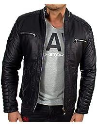28e3d919d1e826 Up2date-fashion Schwarze Jacket Herren Jacke mit Stehkragen leicht  gefüttert Übergangsjacke Herrenjacke Biker Kunstleder Gesteppte…