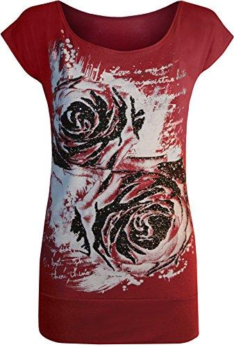 itter Graffiti Rose Blumen Kappenhülse Lang T-Shirt Top - Wein - 36-38 (Glitter Wein)