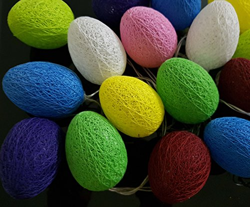 My Party Suppliers Oval Shape battery operated Home Decoration Light Thai Cotton Balls String Series (LADI) Battery Power Festival Lamp Creative Gift Diwali Christmas Wedding Halloween / Cotton Ball String Light