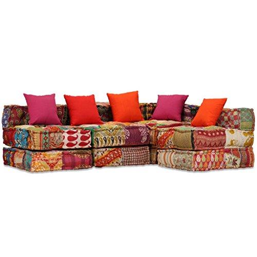 vidaXL Schlafsofa 4-Sitzer Stoff Patchwork Sofa Bettsofa Couch Schlafcouch