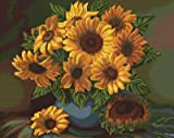 Gobelin Stickpackung Sonneblumen 27,5x22 cm ohne Vordruck komplettes Stickset zum Sticken Stickerei Set Stickmuster Zählmuster Handarbeit Stickvorlage Bild embroidery