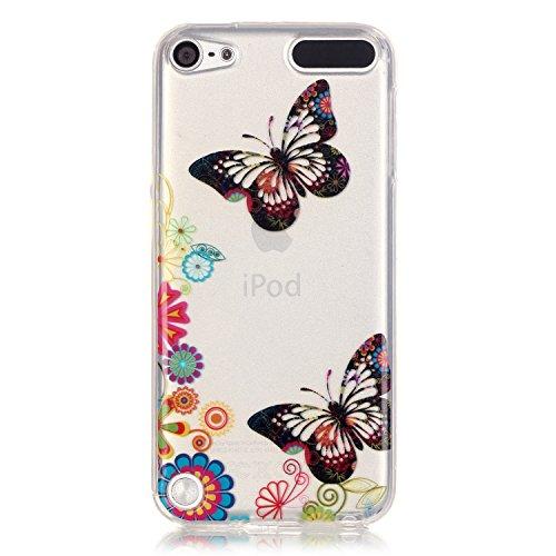 Voguecase® Per Apple iPhone 7 4.7,Custodia Silicone Morbido Flessibile TPU Trasparente Custodia Case Cover Protettivo Skin Caso,Completa il design IMD del vostro Apple iPhone 7 4.7 (blu farfalla 11) C farfalla nera