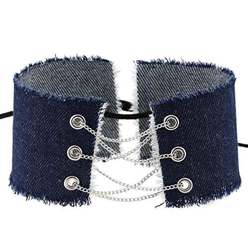 Zygeo - Entwurf handgemachte Spitze bis Bowknot Quaste Denim Halsband Vintage Halskette Frauen trendy Splei? weite Jeans Punk COLLARES collier [Silber Dark Blue] (Tiffany Freundschaftsarmband)