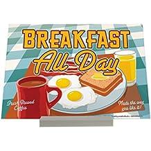 Soporte Fotografias Cocina Huevos desayuno taza de café fritos tostadas zumo de naranja Letrero Retro