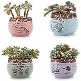 USB 9,5cm estilo rústico redondo sucuulent Cactus macetas flores macetas macetas contenedores jardineras macetas macetas, cerámica, Collection, small