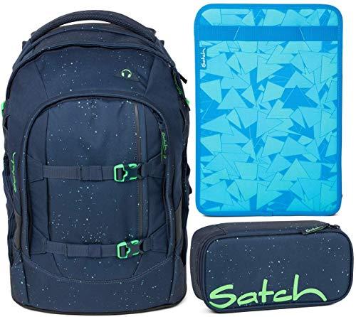 Satch Pack Space Race - Set di 3 zaini da scuola, astuccio e scatola per quaderni, colore: Blu