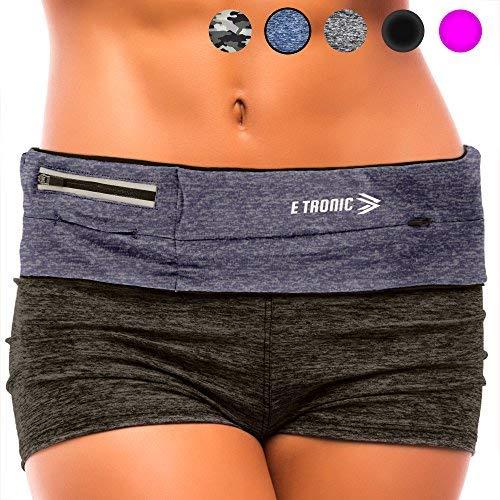 Flache Umhängetasche (E Tronic Edge Handytasche Sport | Handy Umhängetasche für alle Modelle und alle Taillen Größen geeignet | Bauchtasche mit extra starkem und langlebigem Reißverschluss (Blau))