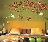 Rote Blume Reben und Schmetterlinge Wandsticker,Wohnzimmer Schlafzimmer Entfernbare Wandtattoos Wandbilder.QT21