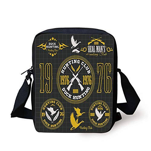 Vintage Club Emblem from 1976 Hobby of Duck Hunting Themed Labels,Yellow Black White Print Kids Crossbody Messenger Bag Purse ()
