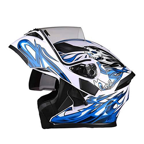 OUTO Verformbare Helm Motorrad Outdoor Riding HD Anti-Fog-Spiegel Vollgesichtshelm Männer Und Frauen Persönlichkeit Kühlen Vier Jahreszeiten (Farbe : White Blue Devil, größe : XXXL) Blue Fox Bluetooth