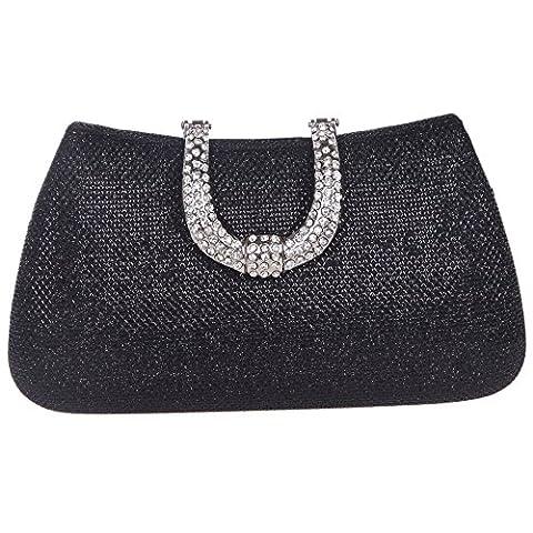 Bonjanvye Glitter Initials Hand Purses for Women Hard Case Evening Clutch Bag Black