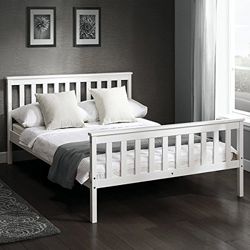 Costway Double Bed Frame Solid Wood Contemporary Modern Finish Beds Wooden Frame 4'6'' Sleep Honey/ White (White)