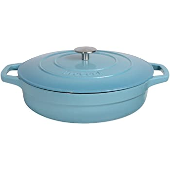 ProCook Cast Iron Induction Enamel Shallow Casserole 28cm / 3.9L Graduated Turquoise