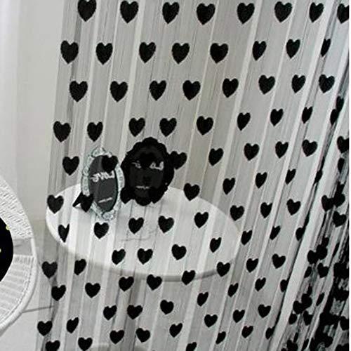 GWFVA Herz-Tüll-Vorhänge für Wohnzimmer, Moderne transparente Tüll-Fenster-Vorhänge für Hochzeits-Raumteiler-Band-dekoratives Schirm-Rosa B: 39 X H: 75inch -