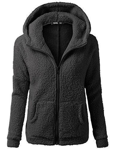 Sweat Zippé Capuche Femme Fleece Manteau Hoodie Manche Longue Casual Mode Sweatshirt Pullover Cardigan Jacket Outwear Tops Automne Hiver - Landove Noir