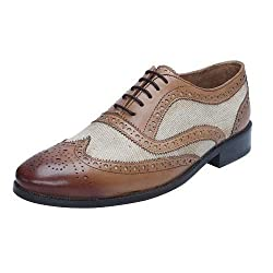 BRUNE Tan Color Genuine Leather And Denim Formal Brogue Shoes For Men size-7