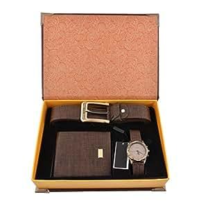 souarts ensemble coffret cadeau montre ceinture porte monnaie pour homme marron montres. Black Bedroom Furniture Sets. Home Design Ideas