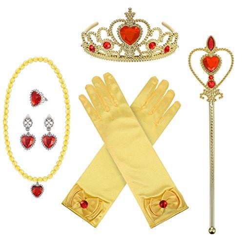 (Hicarer Princess Dress-up Zubehör Set mit Krone Zauberstab Halskette Handschuhe Ring Ohrringe, 8 Stück (Gelb))