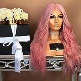 Lungo Parrucca Ondulata Brasiliana Delle Donne Parrucca Resistente Al Calore Anime Cospaly Partito Dei Capelli Di Modo Parrucca Naturale Parrucchino Per Il Costume Vestito Operato Halloween Rosa