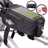 BTR Fahrrad-Rahmentasche / lenkertasche und Handy-Tasche GEN3. Fahrradrahmentasche wasserdicht mit einen wasserdichten Regenschutz, um ALL Ihre Wertsachen vor Nässe zu schützen – passend für ALLE Fahrräder. Mit 2 LED Schnellbefestigungsleuchten, eine mit weißer LED und eine mit roter LED