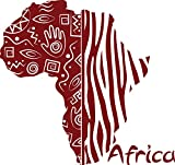 GRAZDesign 630222_30_030 Wandtattoo Afrika Land Kontinent | Wand-Aufkleber als Deko im Wohnzimmer/Büro (32x30cm//030 dunkelrot)