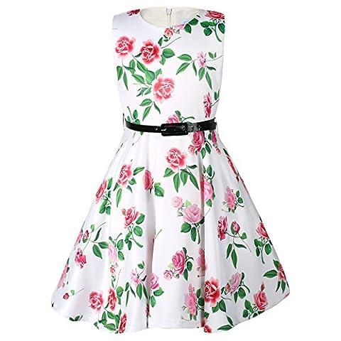 Ephex Enfant Fille Robe Princesse Soirée Mariage Floral Fleur Sans