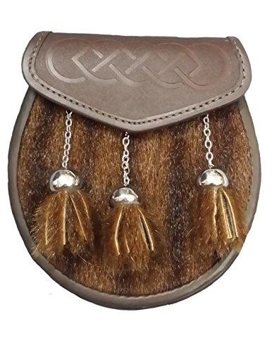 Herren SEMI Kleid Kilt Sporran Dichtung Haut Keltisches Design eingeprägt-Schottischen Hälfte Kleid Kilt Sporrans kilttaschen