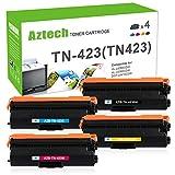 Aztech 4 Pack XXL Kompatibel für Brother TN423 TN 423 TN-423 TN421 TN-421 für Brother HL-L8260CDW Toner HL L8260CDW HL L8360CDW Brother MFC-L8690CDW Toner MFC L8690CDW MFC L8900CDW Brother DCP L8410CDW Brother MFC-L8690CDW Farblaser-multifunktionsdrucker
