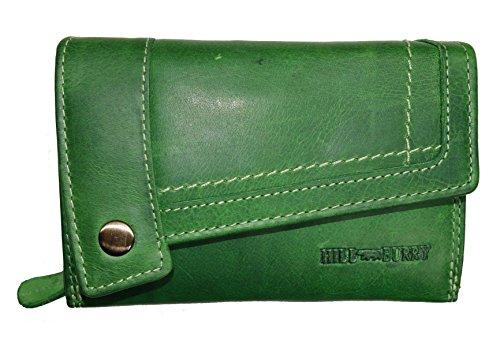 Hill Burry Leder Damen Portmonnaie / Geldbörse 3698 (grün) (Grün Leder-geldbörse)