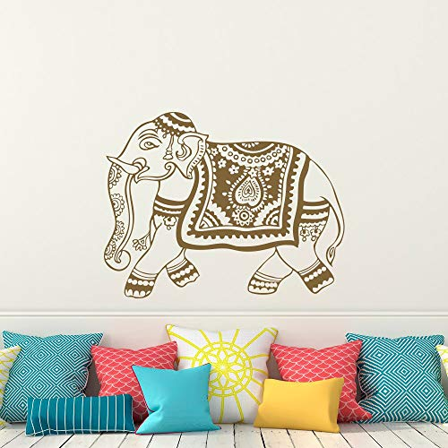 Fengdp Indischer Elefant Wandtattoo Aufkleber Yoga Wandtattoo Schlafzimmer Wohnheim Kindergarten Boho Bettwäsche Home Decor Interior Design36 * 46cm - 2 Tür-bettwäsche-schrank