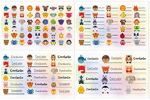 Kigima 114 Aufkleber Sticker Namens-Etiketten rechteckig Constantin verschiedene Größen und Tiermotive