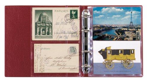 Postkarten-Album LOTOS, Weinrot, mit 50 Klarsichthüllen (Lindner 5800-W)