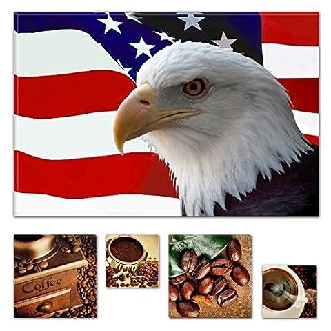 Lumière Eco Art mural sur toile Bundle American Eagle sur le drapeau 80x 119,9cm pour décoration intérieure et Lovely de cuisine Coffee Collage Lot de 4moderne encadrés