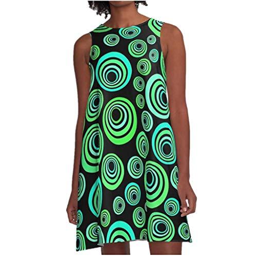 BOIYI Rock Damen Sommer Mode Lässig Seeveless O-Ausschnitt Tiger Print Mini Weste Kleid(Grün1,XL) Tiger Print Shift