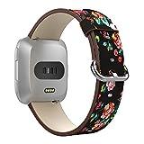 MoKo Bande pour Montre Fitbit Versa/Blaze, Bracelet en Cuir Véritable de Qualité Supérieure de Remplacement pour Fitbit Versa/Blaze Fitness Wristband, Convient 13-10cm, Noir et Pivoine Colorée