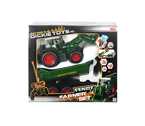 RC Traktor kaufen Traktor Bild 1: Dickie Toys 201119266 - RC Farmer Set, funkferngesteuerter Traktor mit Anhänger inklusive Batterien, 60 cm*