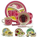 Vajilla infantil de bambú juego de vajilla infantil de cubertería cuenco para cereales vasos plato para niño apto para lavavajillas. mariposa
