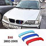 Per B M W 3 Series E46 318i 320i 325i 330i 335i 2002-2005 (11 Griglia) 3D M Adesivi per griglie anteriore M-Sport Grill Trim fibbia clip in Stripe copertura decorazione
