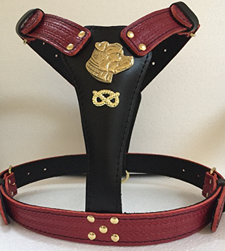 Large Two Tone Leather Dog Harness With Staffordshire Bullterrier Head Motif and Staffie Knot BK/RD/G
