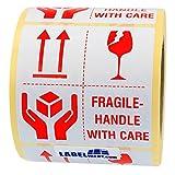 Aufkleber - fragile - handle with care - 50 x 50 mm - 500 Stück auf Rolle, weiß, permanent haftend - Versandetikett, Warnetikett, Paketaufkleber