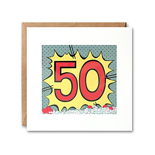 James Ellis Kapow Shakies Age 50 Birthday Card filled with bodegradable glitter and confetti