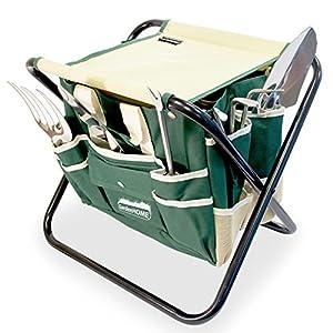 Silla plegable para jardineria con bolsa porta herramientas GardenHOME mas 5 herramientas