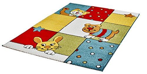 Moderner Kinder Teppich für Mädchen und Jungen Athabasca Kids für das Kinderzimmer Hand Carving -> hochwertige Qualität (080 x 150 cm, Winkende Katze und Hase mit Sternen und Punkten bunt ACK 145 Multi)
